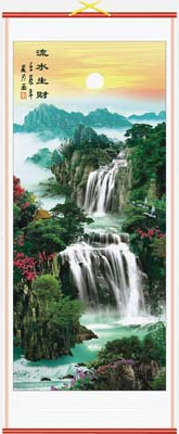 Chinese wall scroll of oriental waterfalls and mountain landscapes,