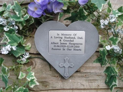 Memorial heart with cross