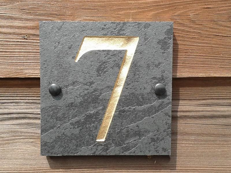 House number deep engraved 15cm x 15cm for Deep house names