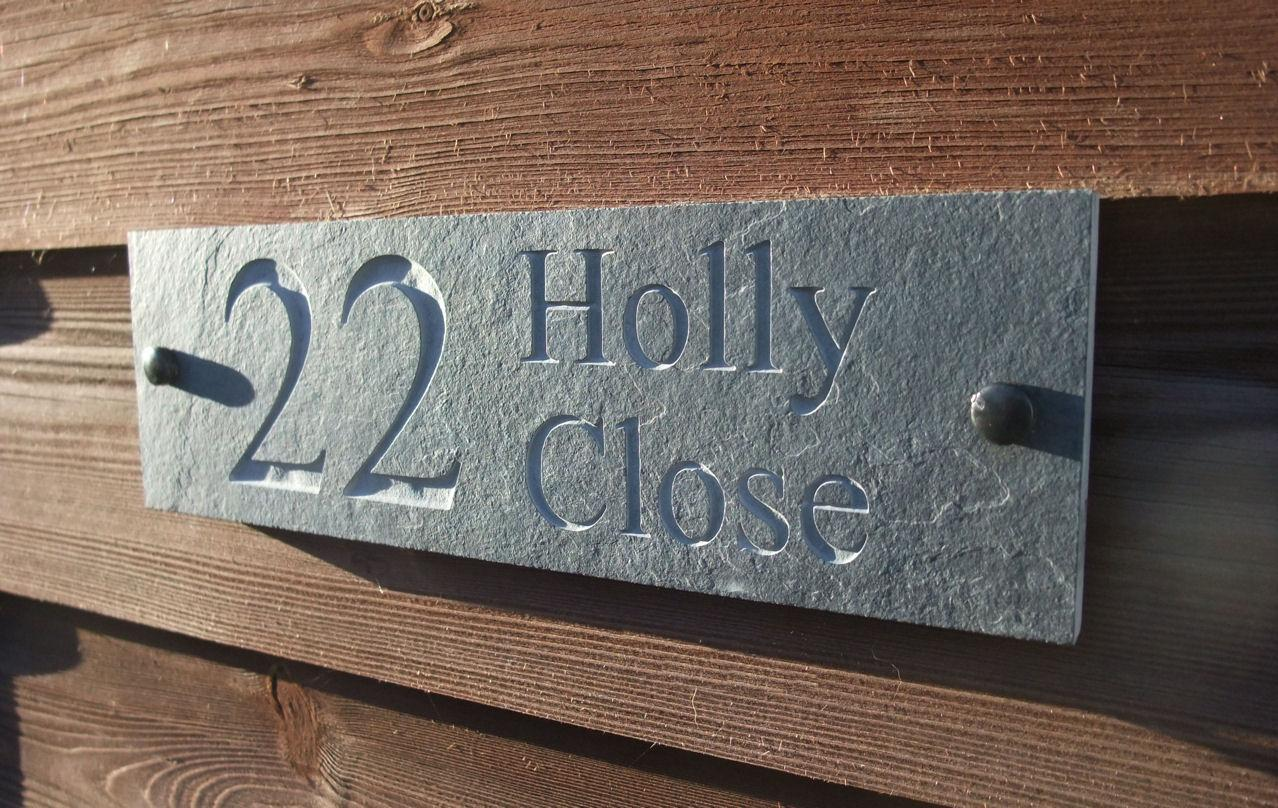 b085af14b050 House Name Deep Engraved Slate Sign 30cm x 15cm One Line (Number) then Two  Lines (Address)
