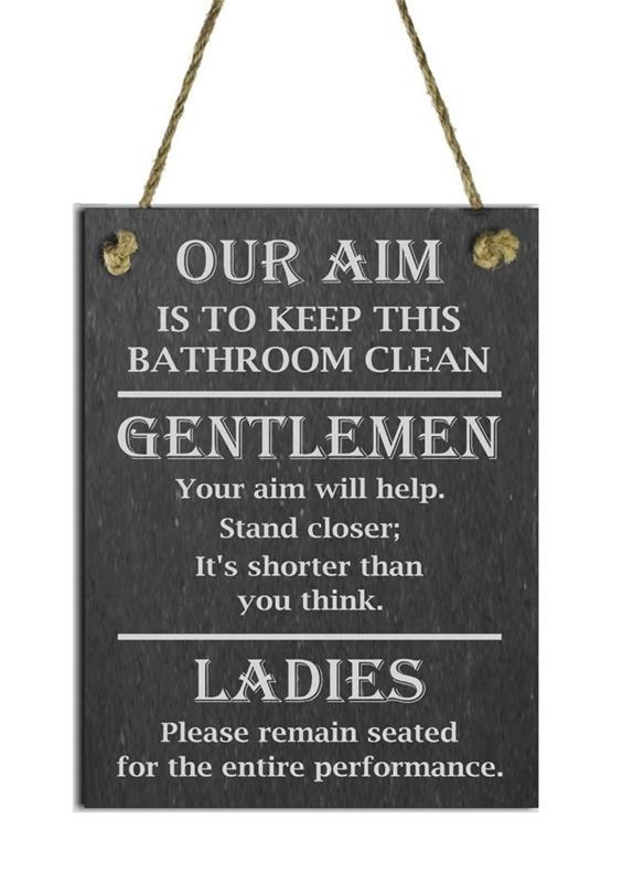 toilet rules slate plaque