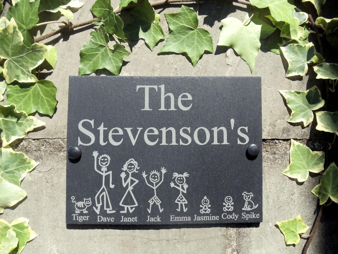 stick family named slate plaque