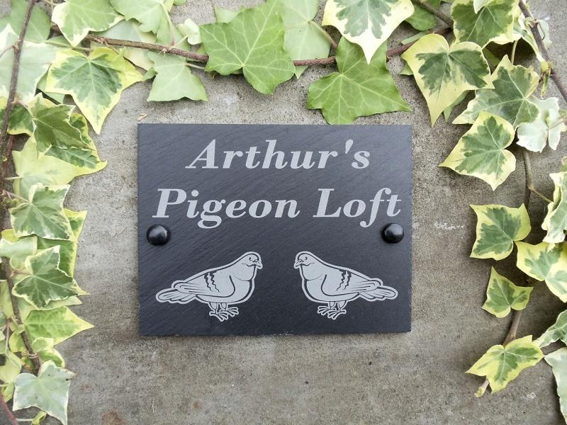 pigeon fancier slate sign personalised