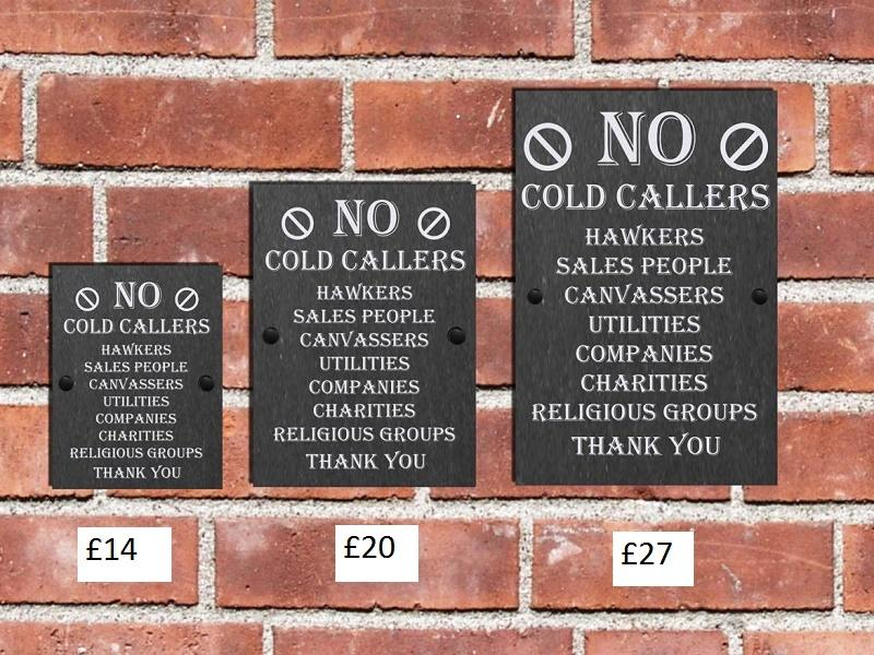 no cold callers slate plaque