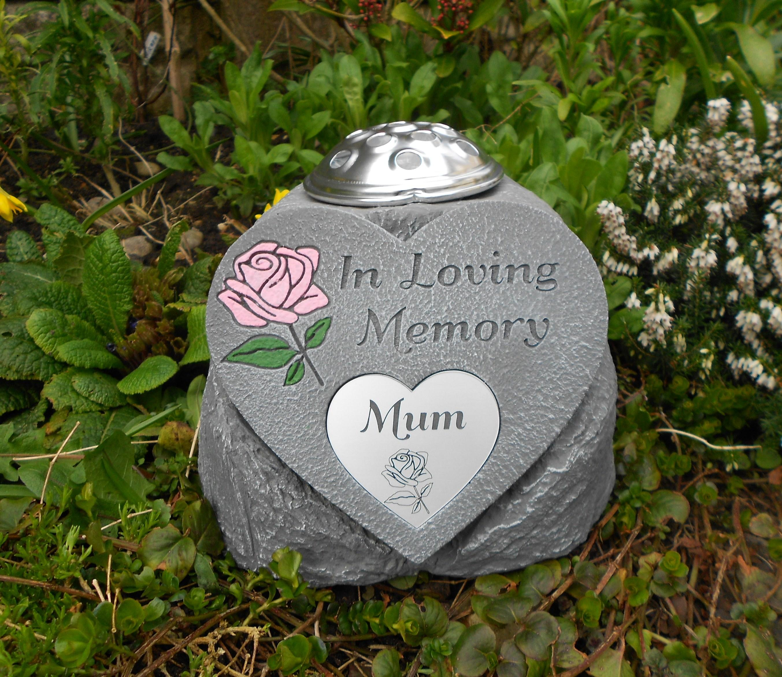 in loving memory heart with plaque