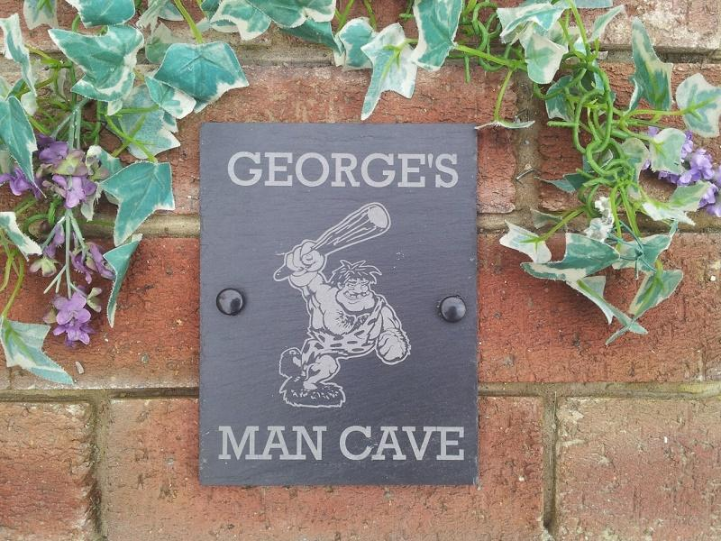 caveman slate plaque for shed