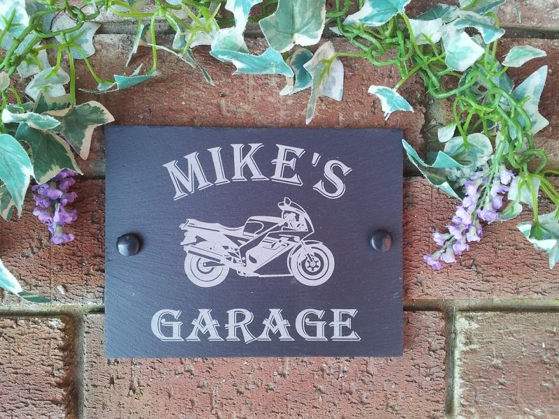 personalised motor bike garage plaque