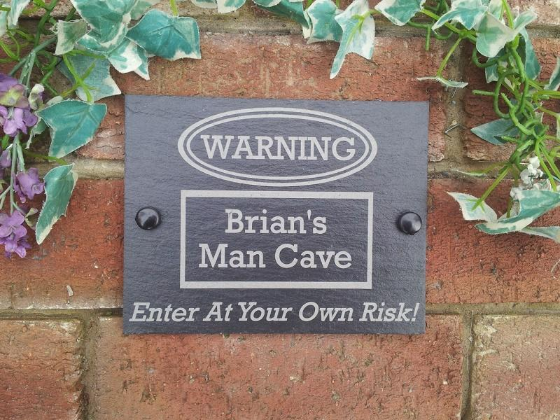 man cave slate plaque for shed