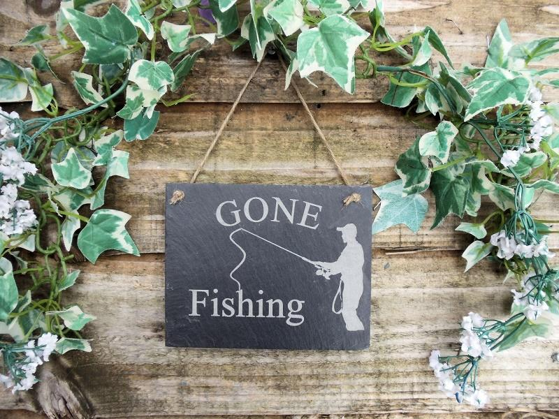 gone fishing slate plaque