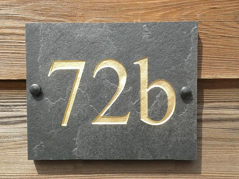 house number deep engraved