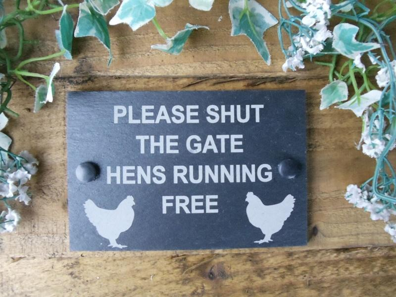 chickens running free slate plaque
