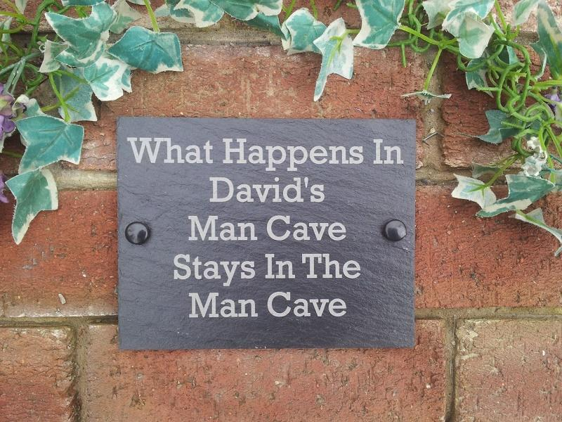 man cave slate plaque for garage or shed