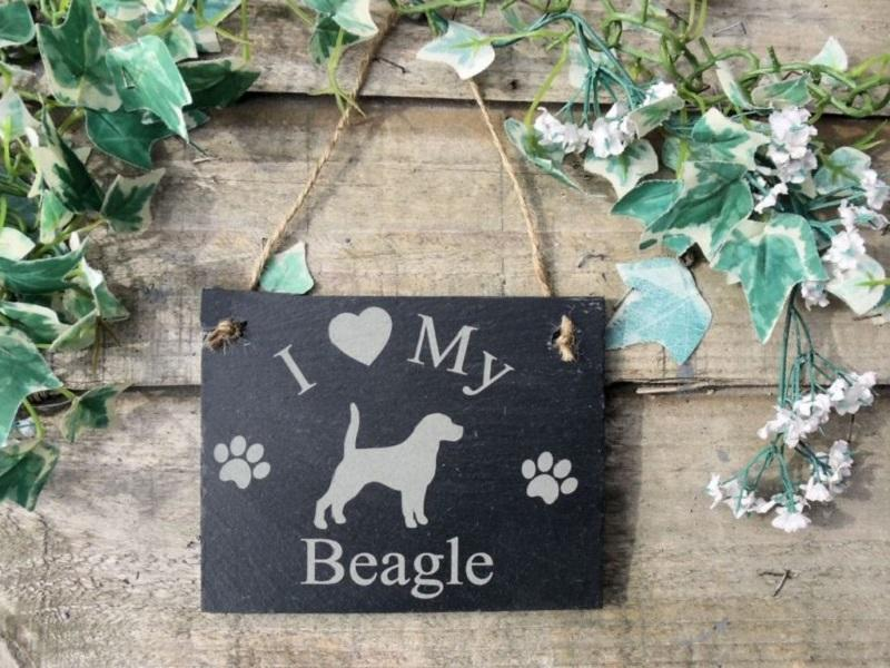 I Love My Dog slate plaque sign