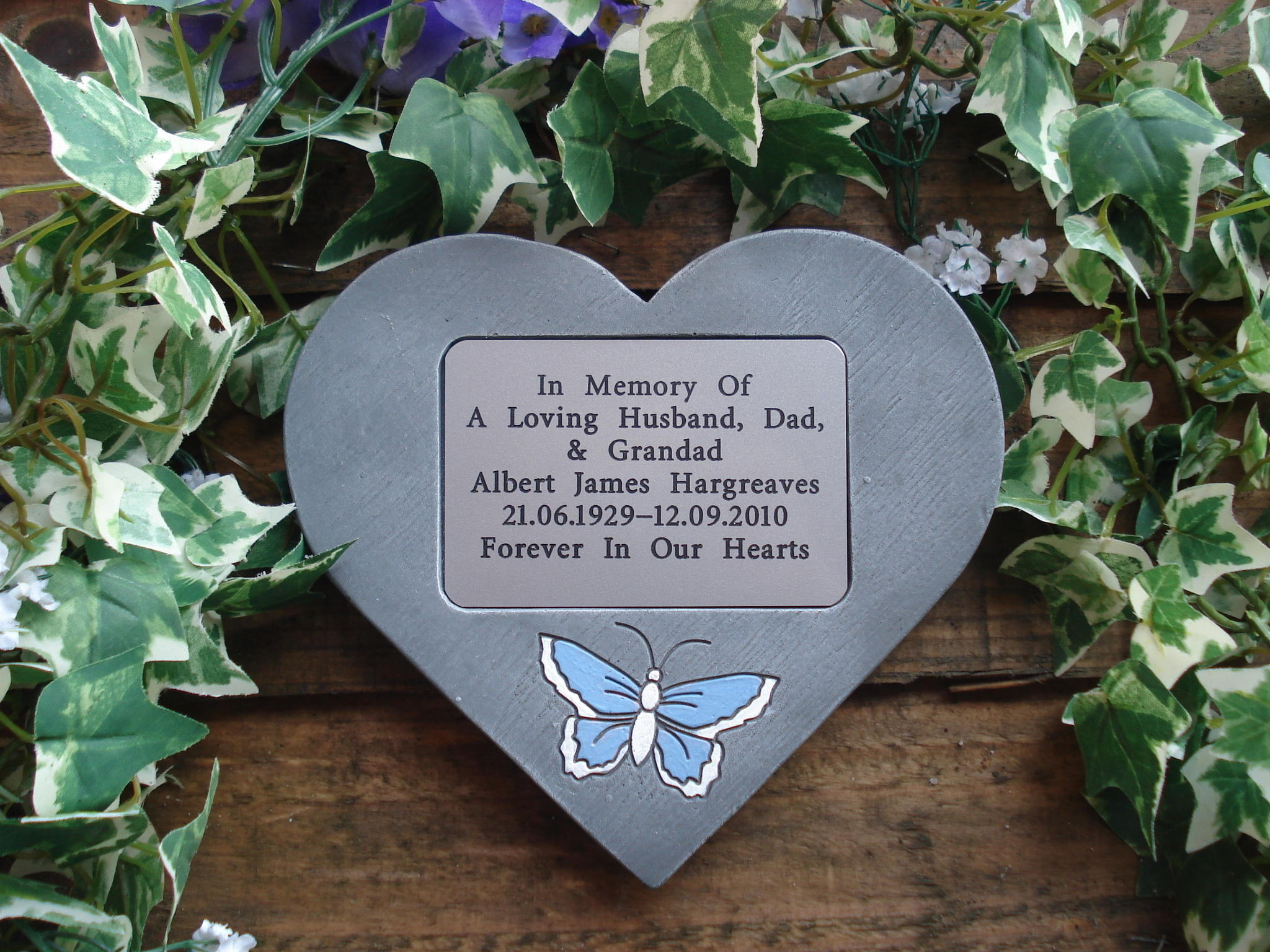 memorial heart with butterfly