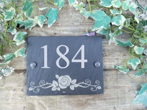 slate house number with rose design