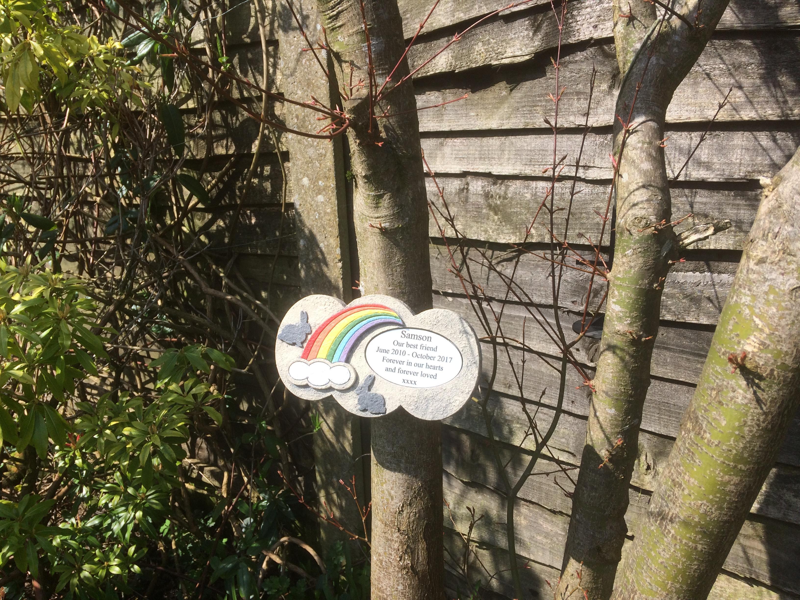 Rainbow Bridge Memorial Stone : Personalised rainbow bridge stone memorial for rabbit
