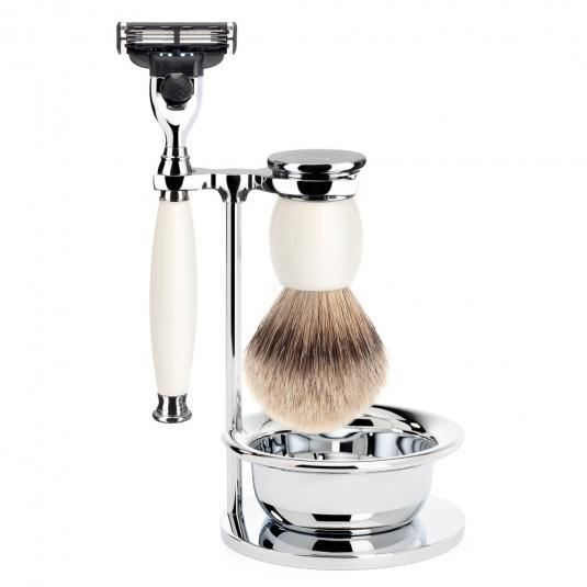 MUHLE SOPHIST Silvertip Badger Brush and Mach3 Shaving Set in Porcelain with Bowl and Stand - S93P84SM3
