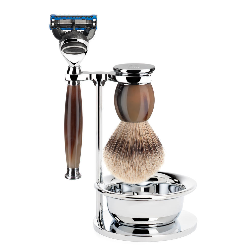 MUHLE SOPHIST Silvertip Badger Brush and Fusion Razor Shaving Set in Horn with Bowl and Stand - S93B42SF