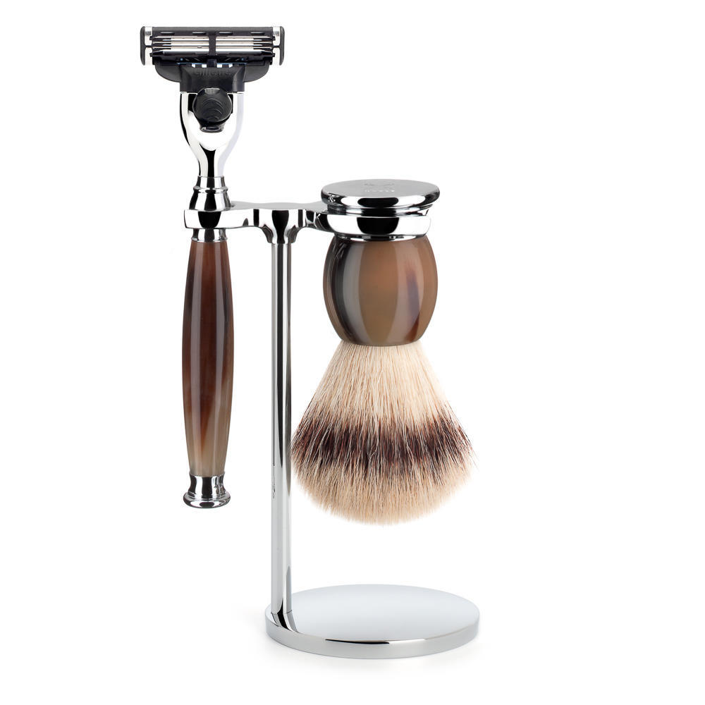 MUHLE SOPHIST Silvertip Fibre Brush and Mach3 Razor Shaving Set in Horn with Stand - S33B42M3