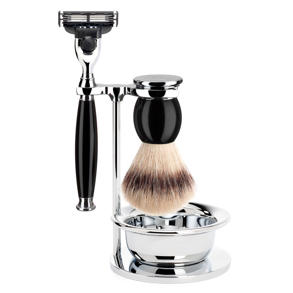 MUHLE SOPHIST Silvertip Fibre Brush and Mach3 Razor Shaving Set in Black with Bowl and Stand - S33K44SM3