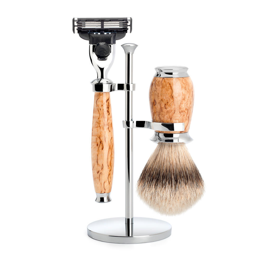 MUHLE PURIST Karelian Masur Birch Silvertip Badger Brush and Mach3 Razor Shaving Set with Stand - S091H55M3