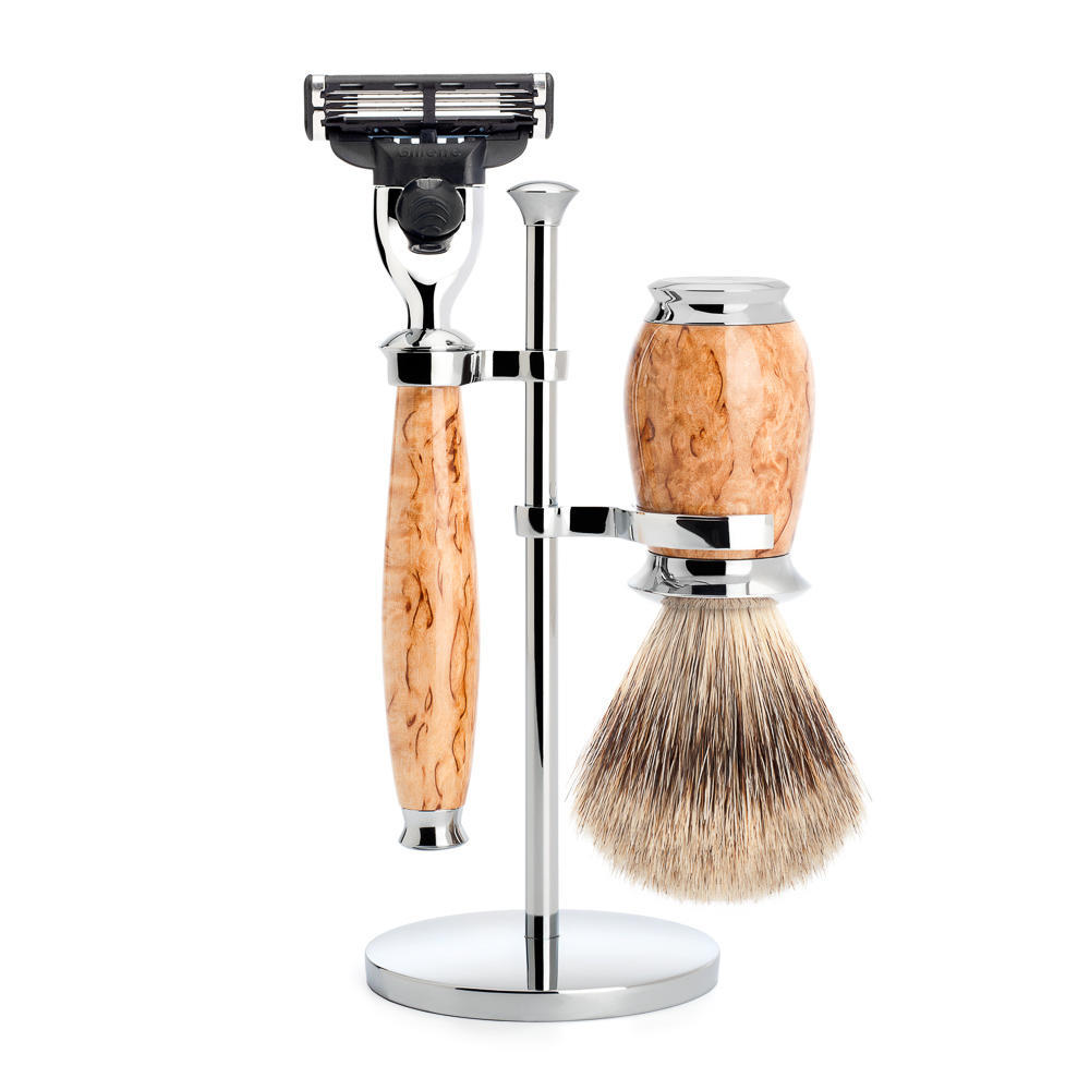 MUHLE PURIST Karelian Masur Birch Fine Badger Brush and Mach3 Razor Shaving Set - S281H55M3