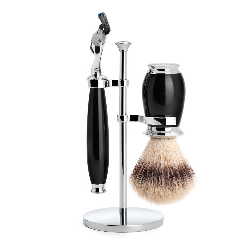 MUHLE PURIST Silvertip Fibre Shaving Brush and Fusion Razor Shaving Set in Black - S31K56F