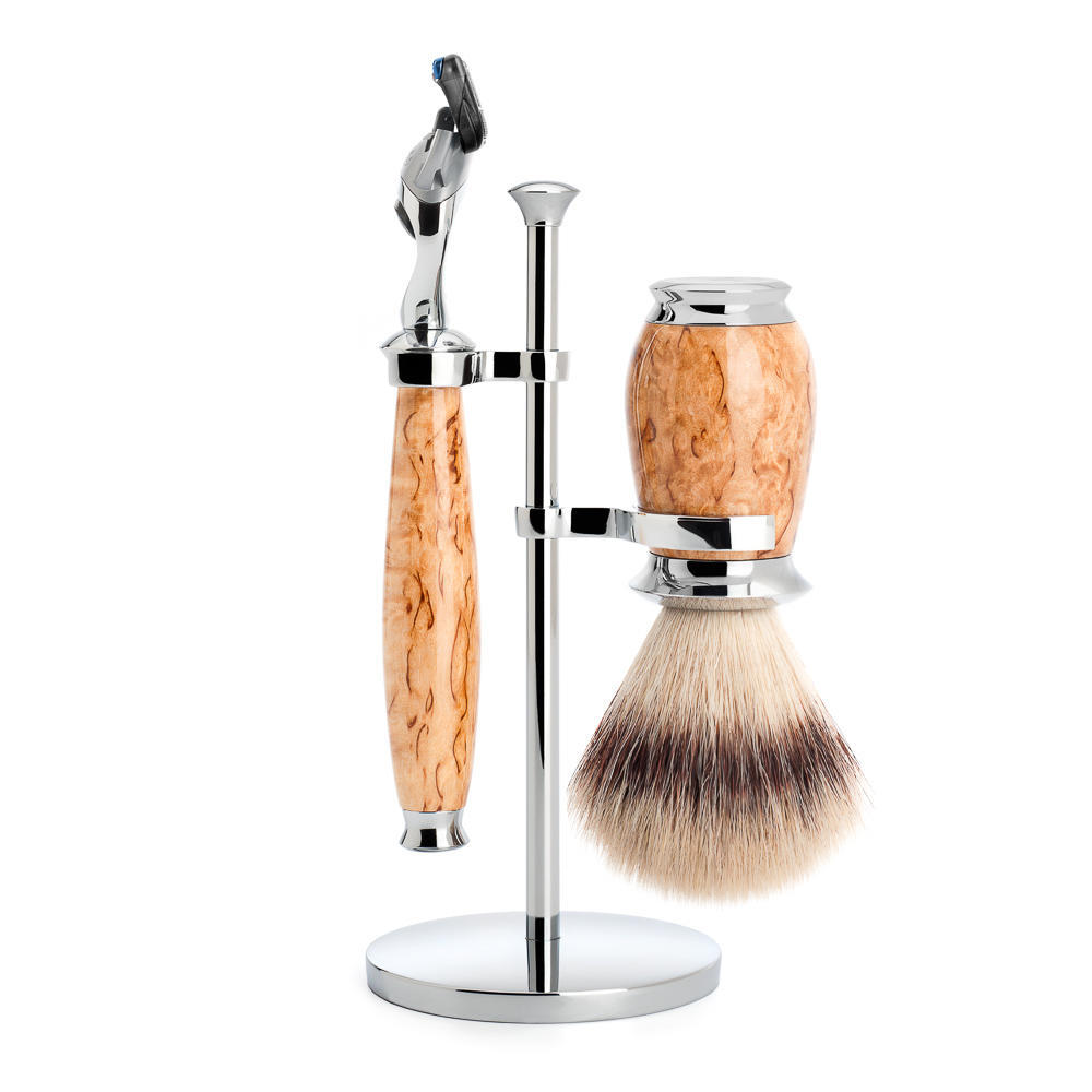 MUHLE PURIST Karelian Masur Birch Silvertip Fibre Shaving Brush and Fusion Razor Shaving Set with Stand - S31H55F