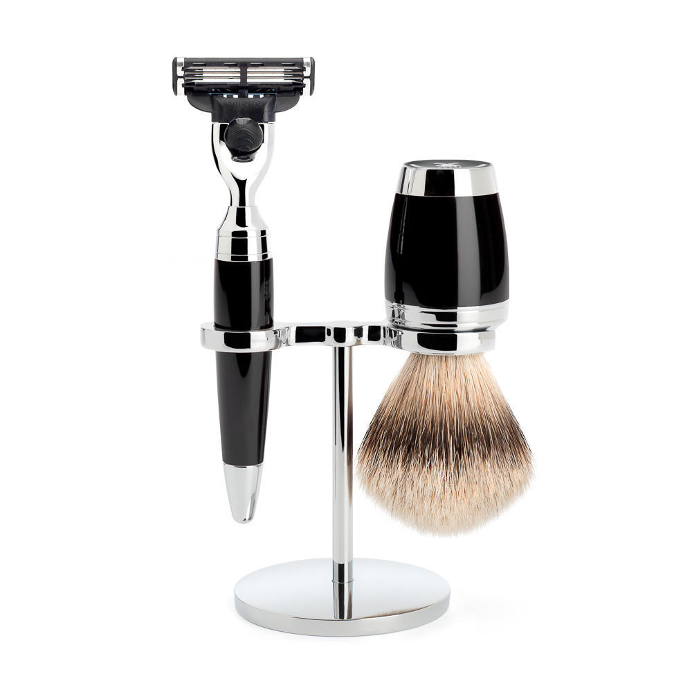 MÜHLE STYLO 3-piece shaving set in black Incl. silvertip badger shaving brush and mach3 razor