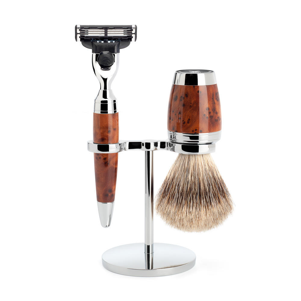 MÜHLE STYLO 3-piece shaving set in thuja wood Incl. fine badger shaving brush and mach3 razor