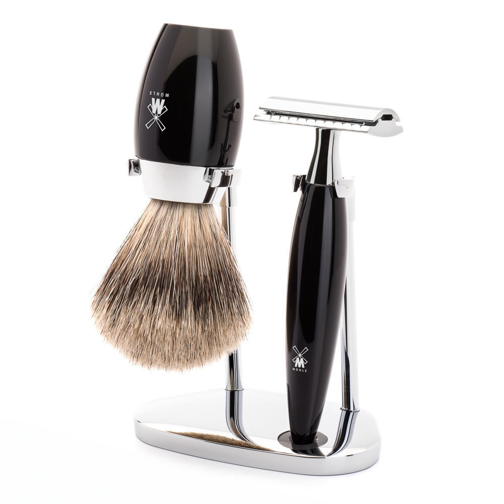 MÜHLE KOSMO 3-piece shaving set in black Incl. fine badger shaving brush and safety razor