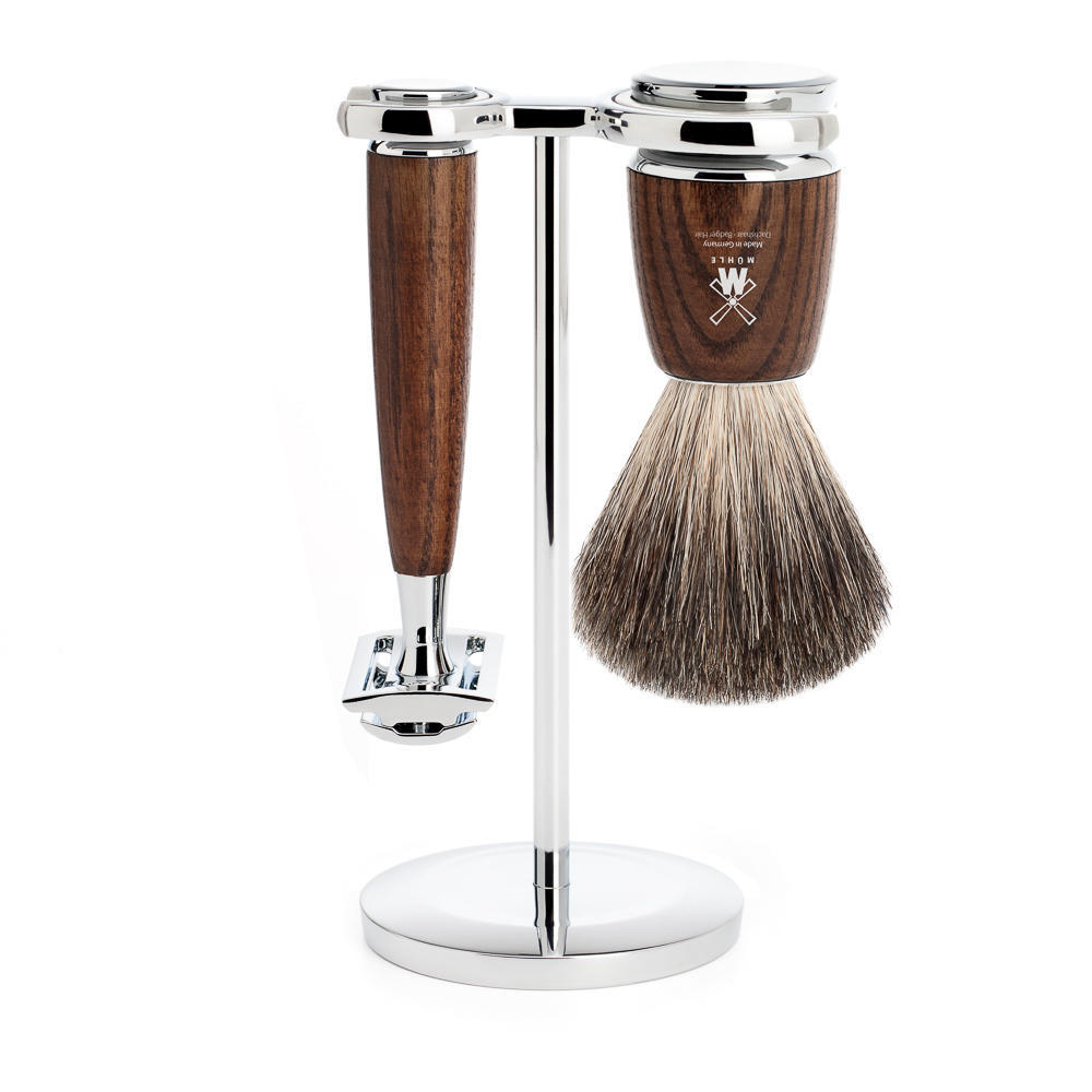 MUHLE RYTMO Steamed Ash 3-piece Pure Badger Brush and Safety Razor Shaving Set - S81H220SR