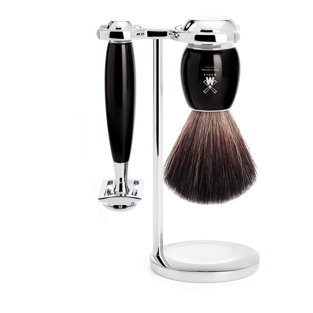 MUHLE VIVO Black Resin 3-piece Pure Badger and Safety Razor Shaving Set - S81M336SR
