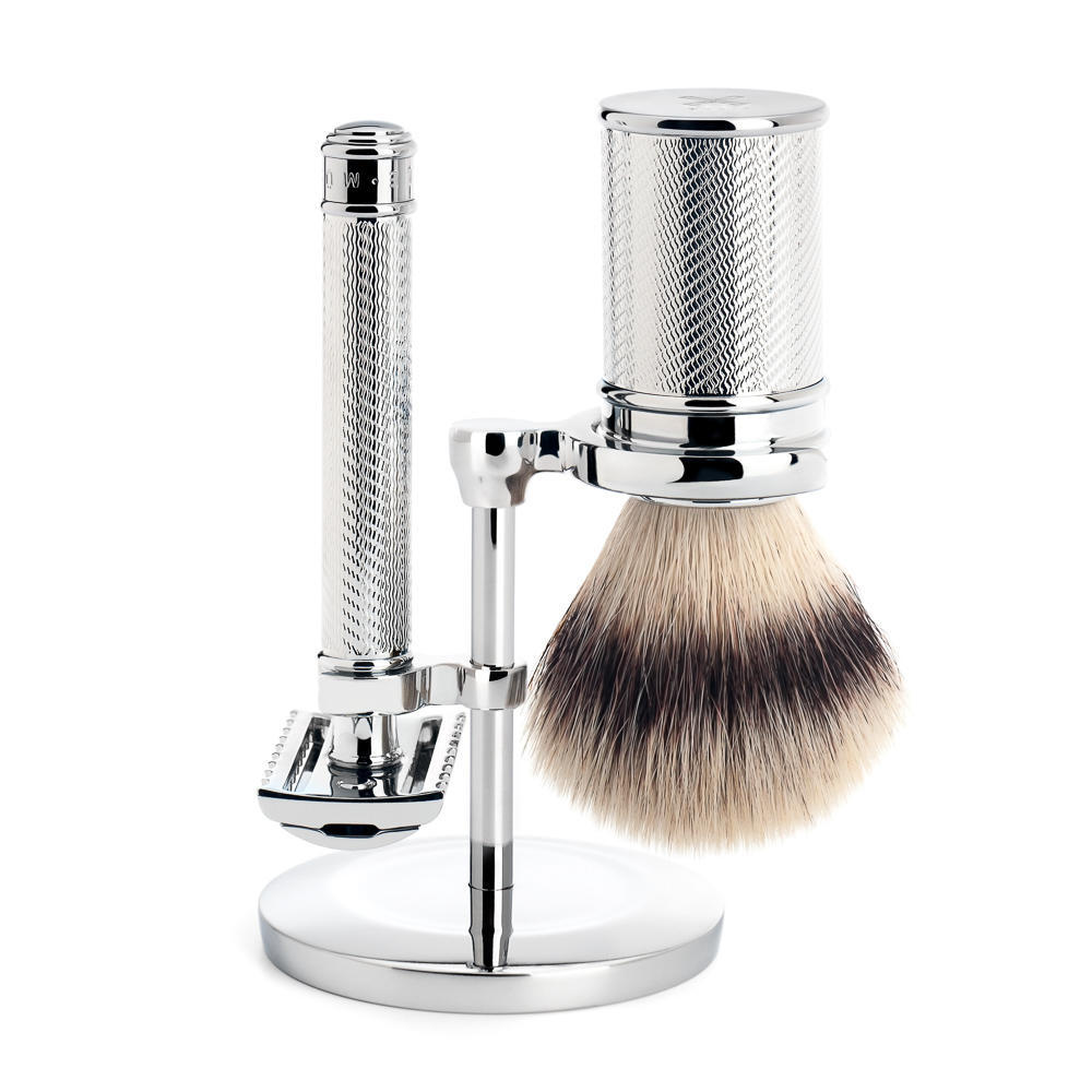 MUHLE TRADITIONAL Chrome Silvertip Fibre Brush and Open Comb Safety Razor Shaving Set - S31M41