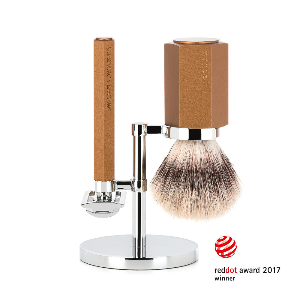 MUHLE HEXAGON Bronze 3-Piece Silvertip Fibre Shaving Set - S31MHXGBRONZE