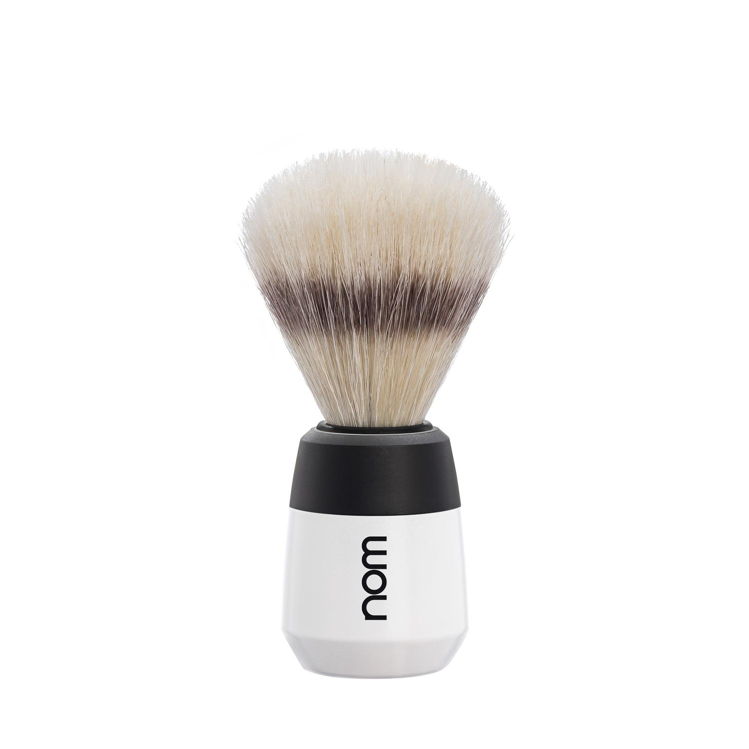 nom MAX, White, Natural Bristle Shaving Brush