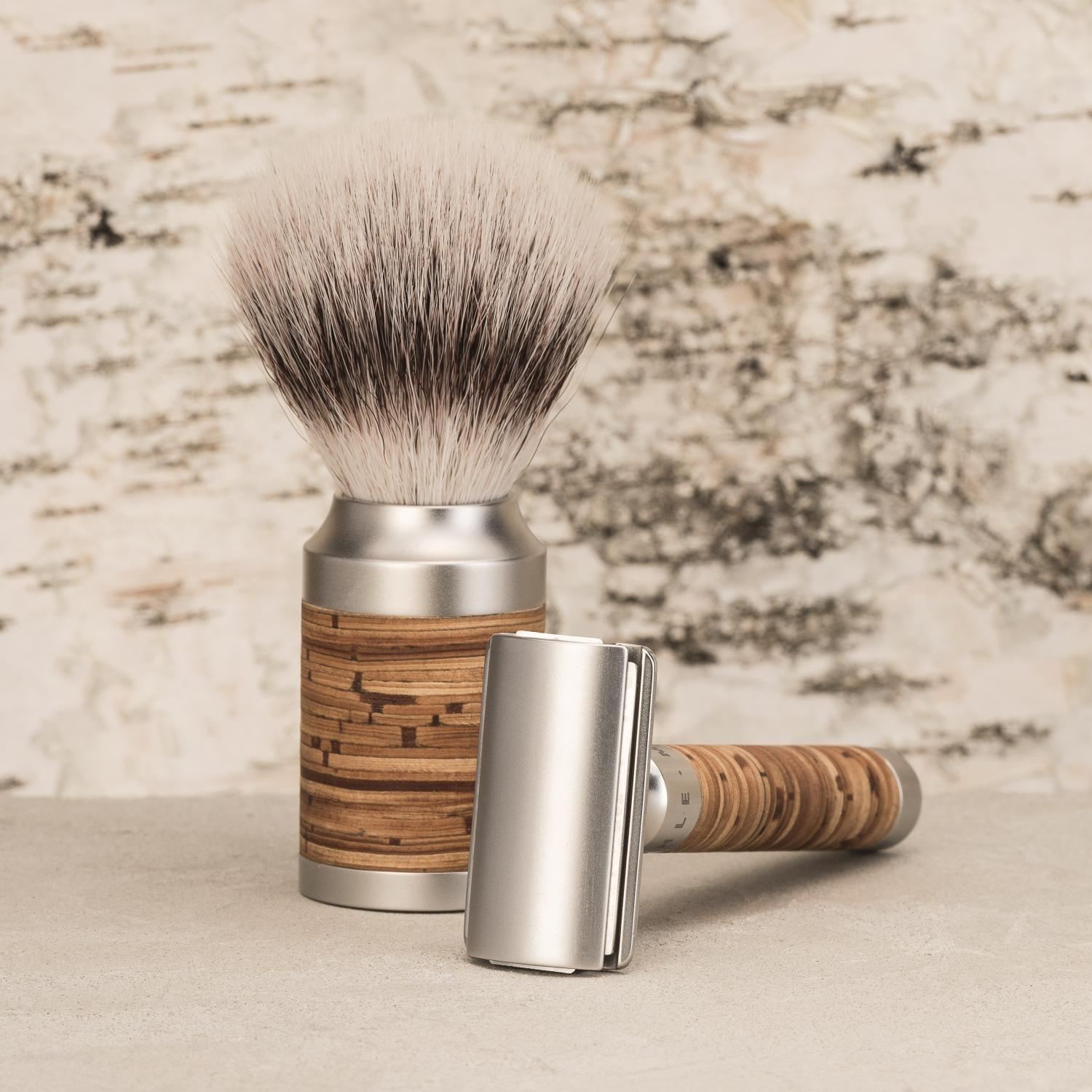 ROCCA steel and birch bark shaving set