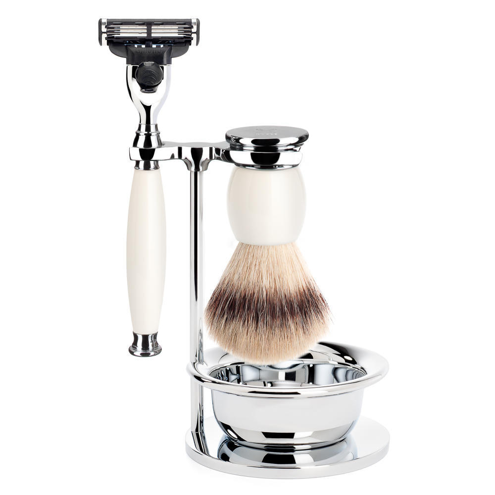MUHLE SOPHIST Silvertip Fibre Brush and Mach3 Razor Shaving Set in Porcelain with Bowl and Stand - S33P84SM3
