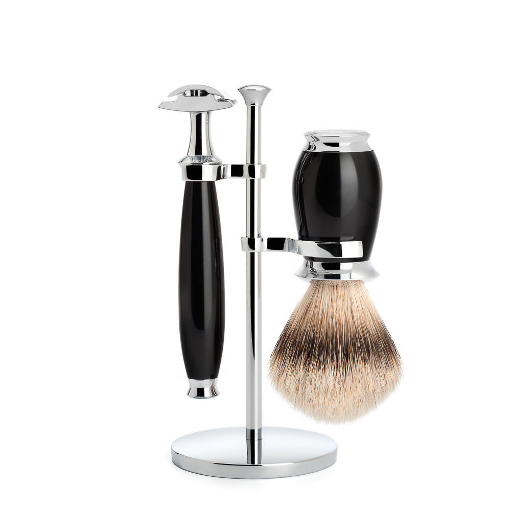 MUHLE PURIST Silvertip Badger Brush and Safety Razor Shaving Set in Black with Stand - S091K56SR
