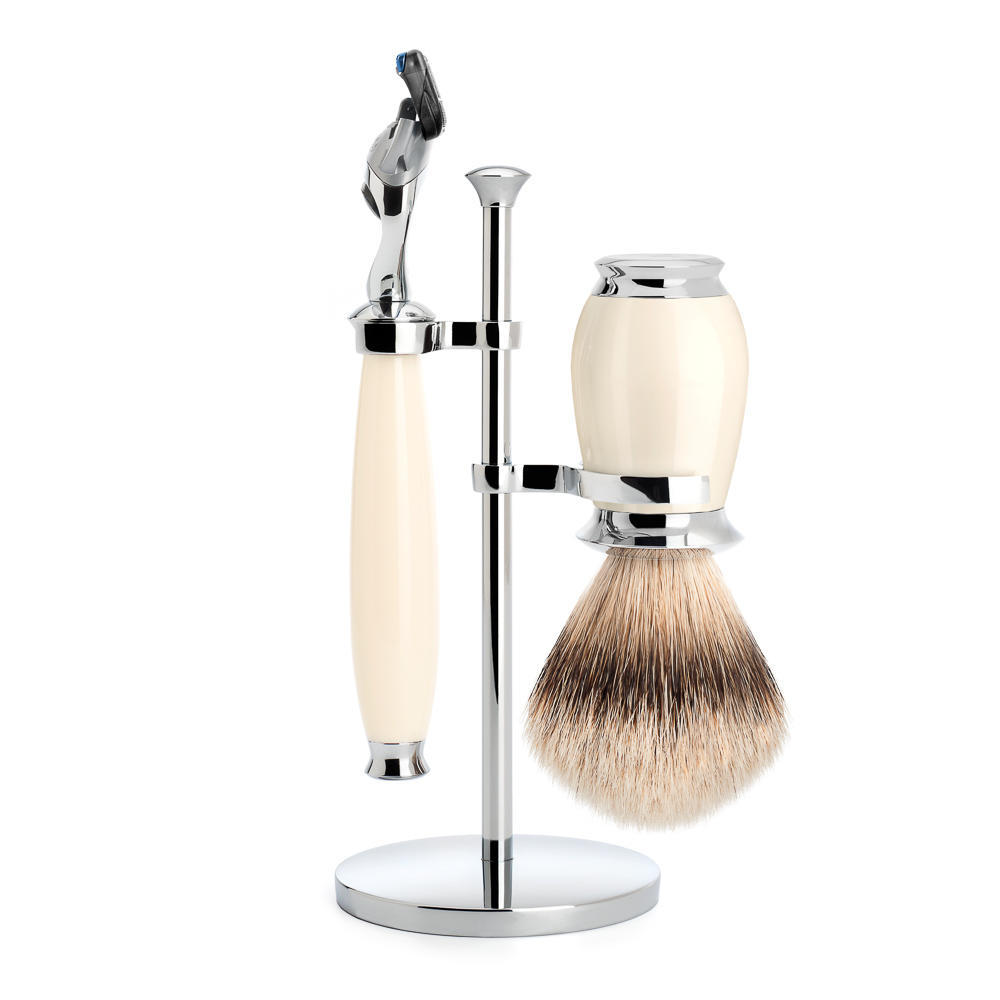 MUHLE PURIST Silvertip Badger Brush and Fusion Razor Shaving Set in Ivory with Stand - S091K57F