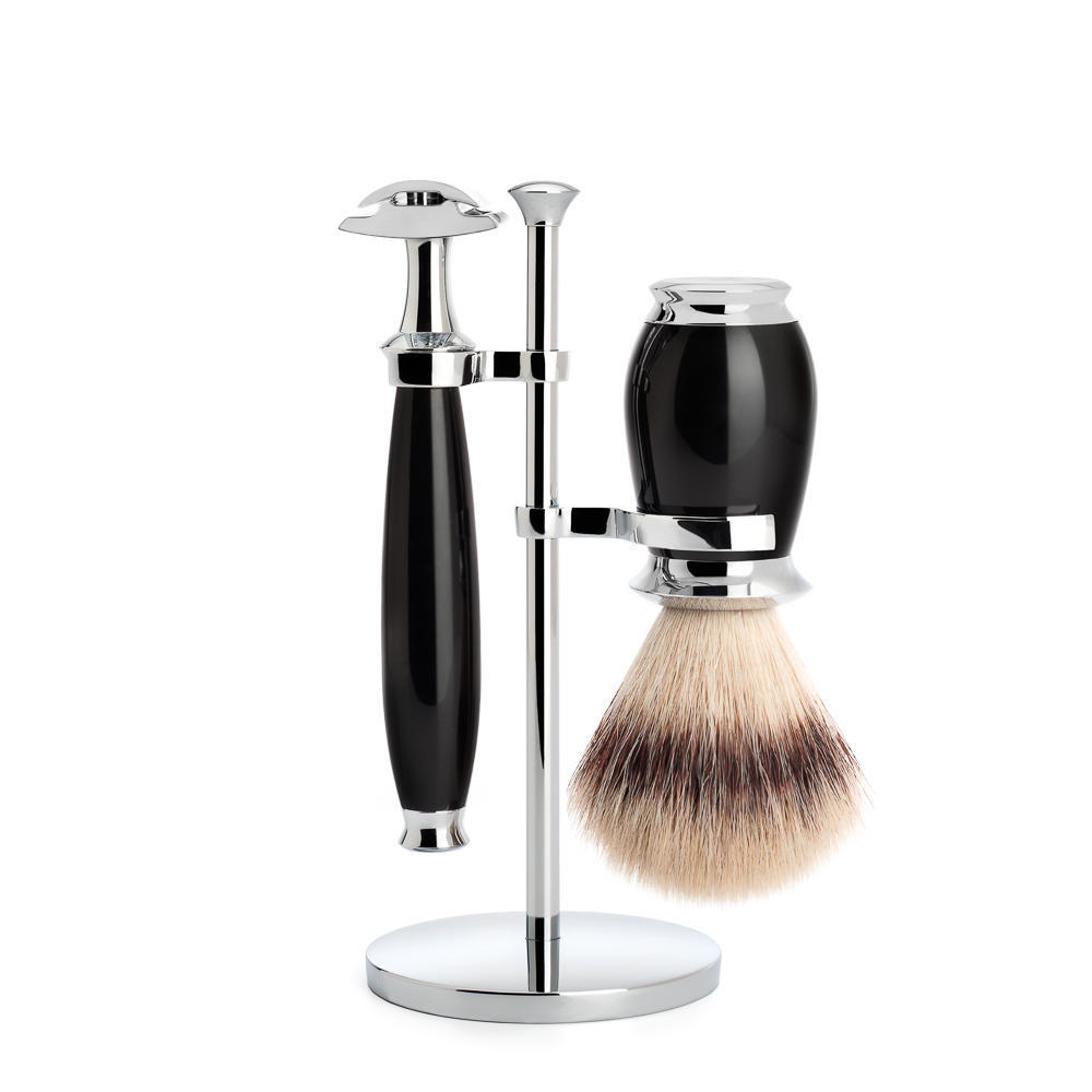 MUHLE PURIST Silvertip Fibre Shaving Brush and Safety Razor Shaving Set in Black with Stand - S31K56SR