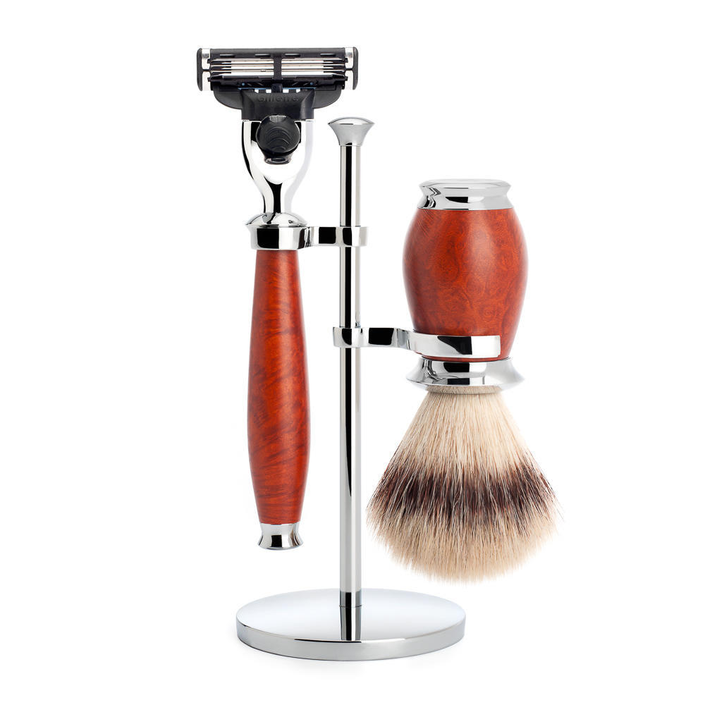 MUHLE PURIST Silvertip Fibre Shaving Brush and Mach3 Shaving Set in Briar Wood with Stand - S31H59M3