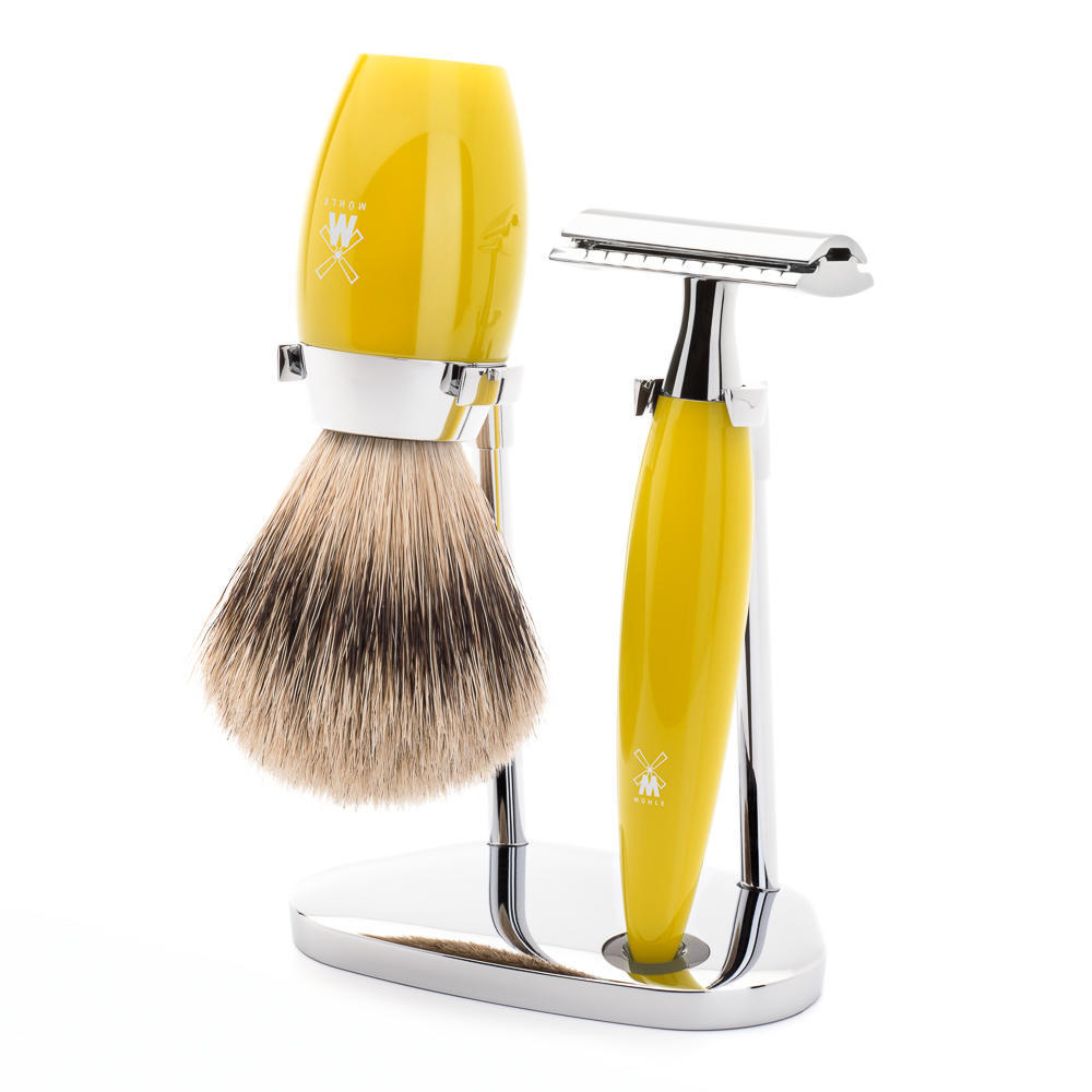 MÜHLE KOSMO 3-piece shaving set in citrine resin Incl. silvertip badger shaving brush and safety razor
