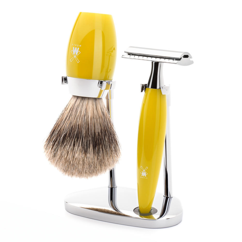 MÜHLE KOSMO 3-piece shaving set in citrine Incl. fine badger shaving brush and safety razor