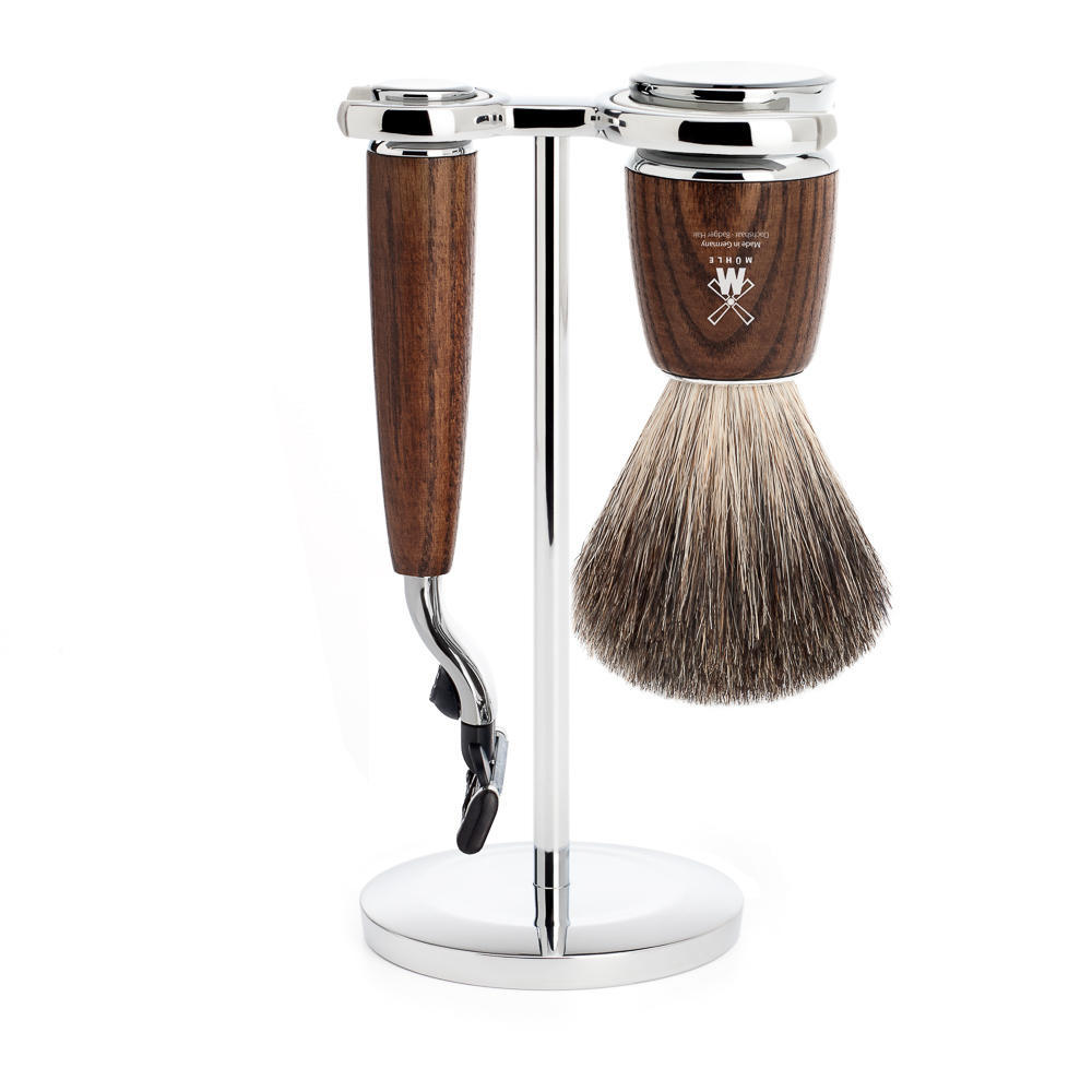 MUHLE RYTMO Steamed Ash 3-piece Pure Badger Brush and Mach3 Razor Shaving Set - S81H220M3
