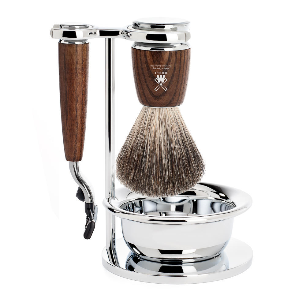MUHLE RYTMO Steamed Ash 4-piece Pure Badger Brush and Mach3 Razor Shaving Set - S81H220SM3