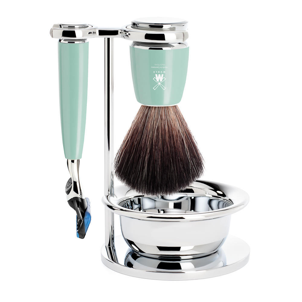 MÜHLE RYTMO 4-piece shaving set in mint Incl. black fibre shaving brush, Fusion Razor and bowl