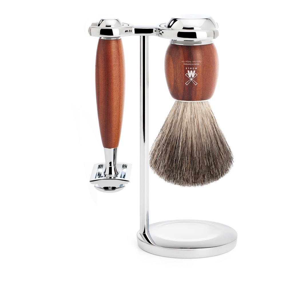 MUHLE VIVO Plumwood 3-piece Pure Badger Brush and Safety Razor Shaving Set - S81H331SR
