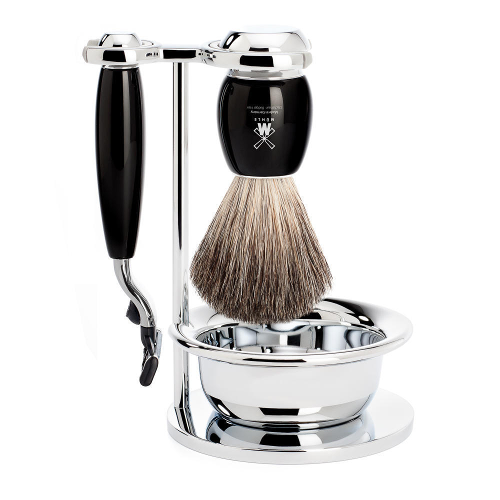 MUHLE VIVO Black 4-piece Pure Badger Brush and Mach3 Razor Shaving Set - S81M336SM3