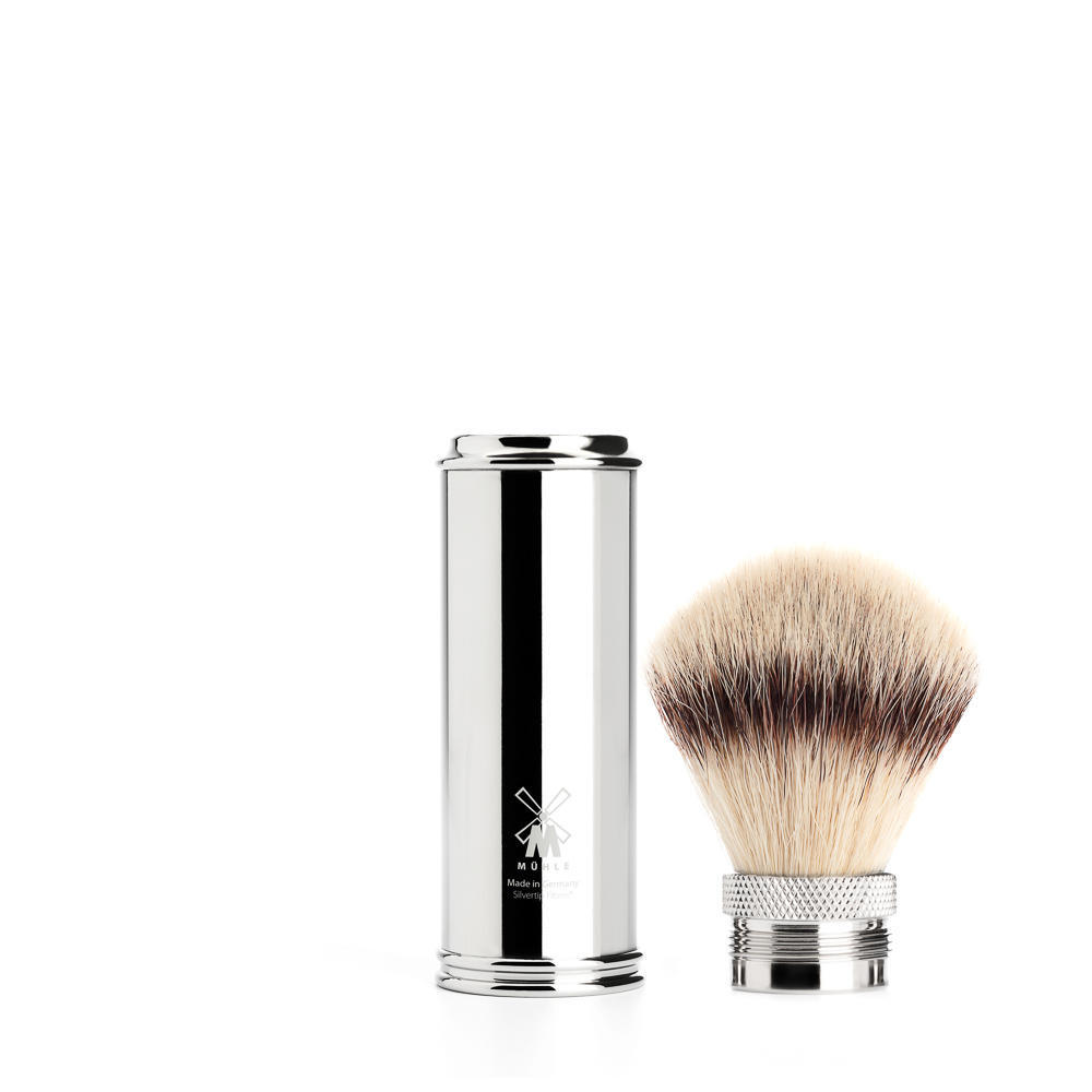 MUHLE TRAVEL Chrome Silvertip Fibre Travel Shaving Brush